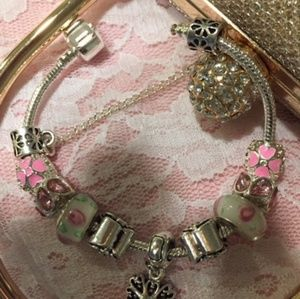 Jewelry - Double Plated .925 Silver pave set Charm Bracelet